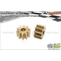 Scaleauto SC1195 Brass Pinions for 2mm Shaft (12 Tooth)