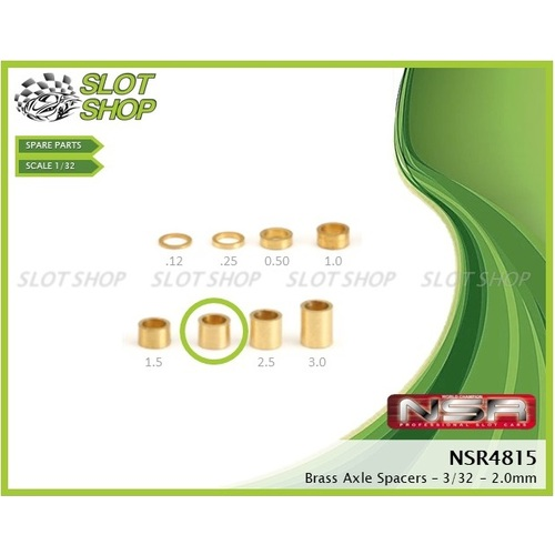 NSR 4816 Axle Spacers for 3/32 Axles (2.25mm)