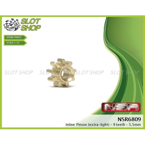 NSR 6809 Brass Inline Pinions (9 Tooth)